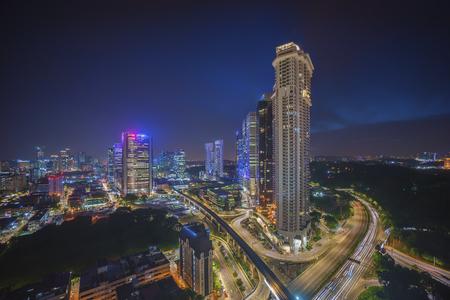 Aerial view of beautiful sunset blue hour at Kuala Lumpur city skyline Stock Photo