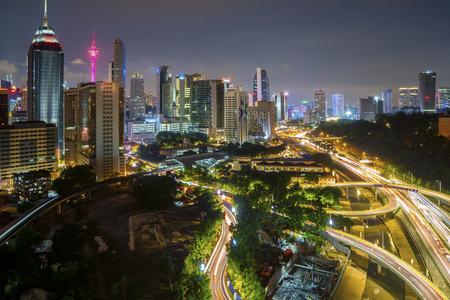 Aerial view of beautiful night scene at Kuala Lumpur city skyline