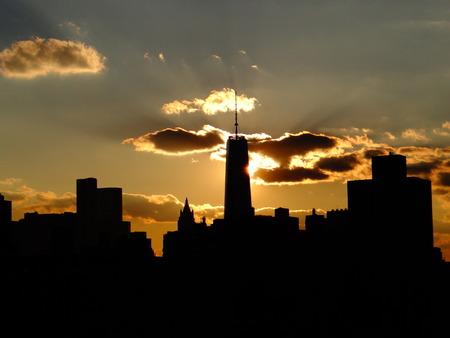 NY in sun down silhouette Stock Photo