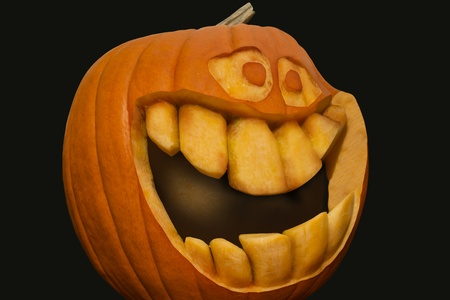 Happy pumpkin with big mouth photo