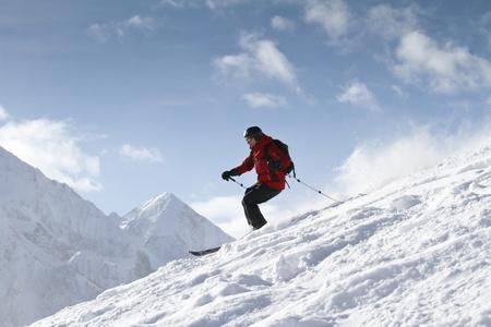 deep powder snow: Freeriding in backcountry