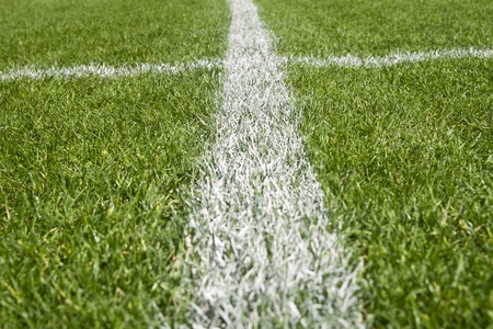 Boundary lines on a soccer field photo