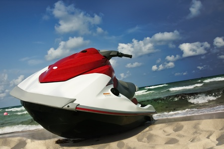 jetski: Jet-ski lies on the shore