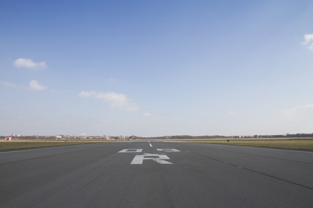 airstrip: Perspective view of an airport runway Stock Photo
