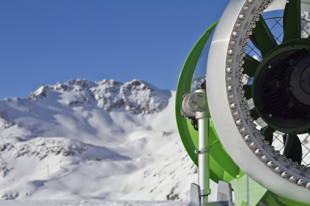 idle: Closeup picture of an  idle snowcannon in the alps Stock Photo