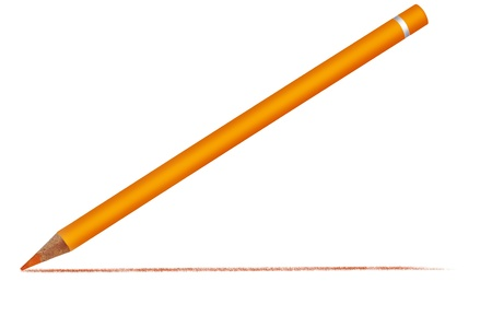 Yellow crayon with a drawn line Stock Photo - 10364760