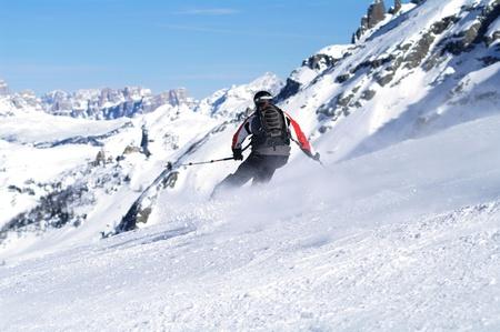 Skiing scene in italy photo
