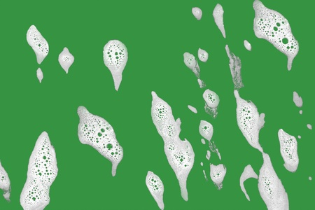 slushy: Foam on green background which is easy to select