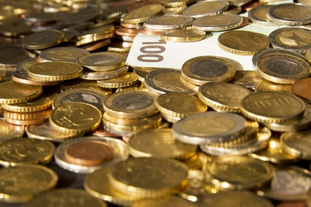 Stock of coins and bills Banque d'images