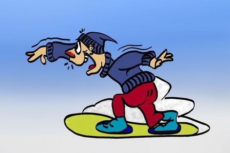 Acrylic illustration of a youth snowboarder with inflamed nose illustration