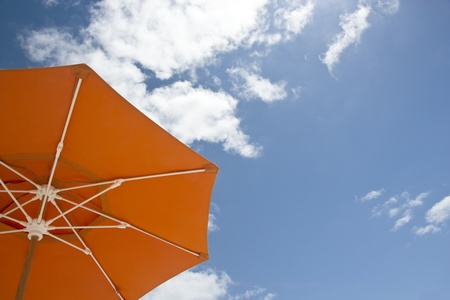 Single parasol on the beach of Miami  Stock Photo