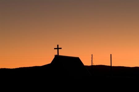 Sundown picture of a church silhouette