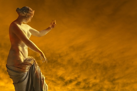 Female marble sculpture resists  the fire
