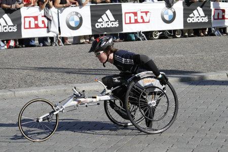 BERLIN - SEPTEMBER 25: Thirty-eighth Berlin  Marathon wheelchair start , 2011 in Berlin, Germany.