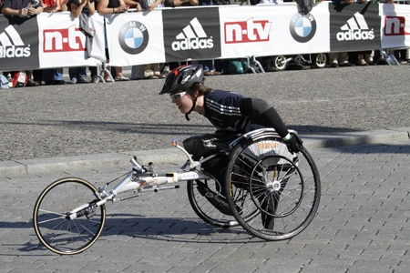 BERLIN - SEPTEMBER 25: Thirty-eighth Berlin  Marathon wheelchair start , 2011 in Berlin, Germany.