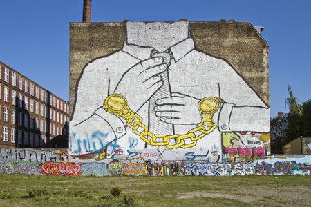 Graffitis on walls of abandoned estate in Berlin/ Kreuzberg, Germany