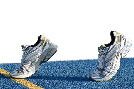 Isolierte Läufer auf blauem Tartan Oberfläche