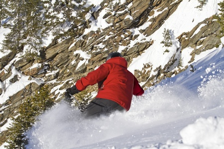 offpiste: Man is skiing back country  Stock Photo