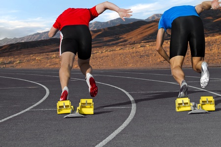 sports track: Sprint competition of two sprinter in the mountains Stock Photo