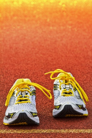 Vertical picture of a pair  runners on a  red tartan surface
