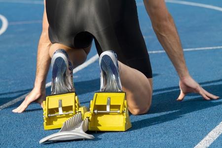 Männlich Läufer wartet auf seinen Start Lizenzfreie Bilder