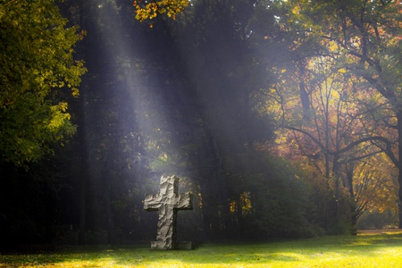 burial: Sunlit cross stands on a lawn of a cemetery