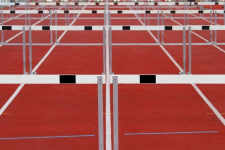 balk: Group of track and field hurdles