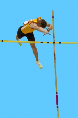 vaulting: Pole vault over the bar
