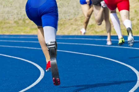 athlete with handicap on race track Imagens