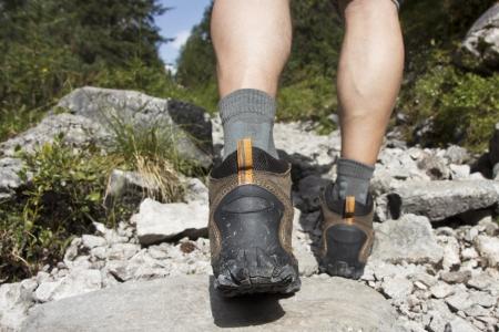 hiking shoes: Hiking up a rocky path