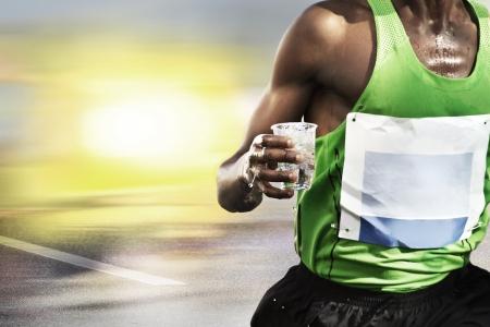 Thirsty transpiring runner Lizenzfreie Bilder