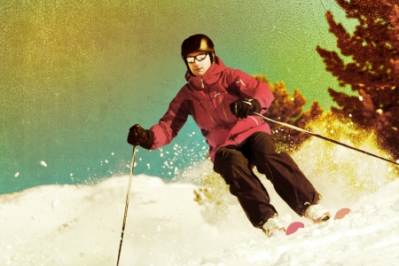 offpiste: Back country skier with retro photo effect