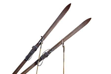 Old pair of ski on white background