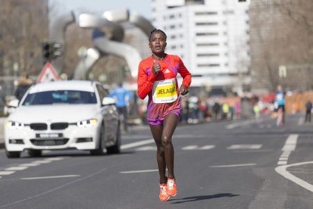 participants: BERLIN - APRIL 7: Participants  of the thirty-third  half marathon at km 14, Jelagat, 2013  in Berlin, Germany.