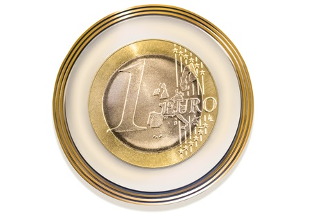 Euro coin as coat of arms on white background photo