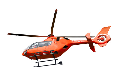 rescue helicopter: Red helicopter isolated on white  Stock Photo