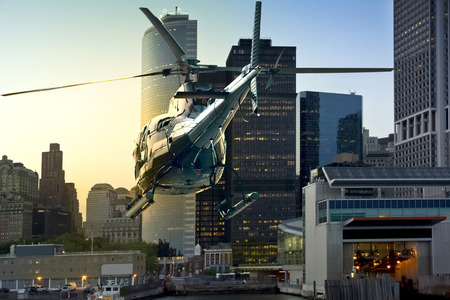helicopter: Helicopter flies through Manhattan South