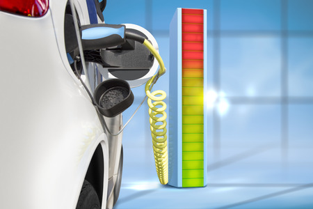 Electric car charging at charging  station Stock Photo - 27470836