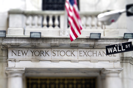 Entrance of the New York Stock Exchange with Entrance  with Stars and Stripes banner