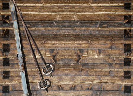 flaked: Vintage ski  with poles fixed on a wooden wall  Variant with flaked off  blue color