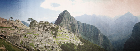 nger: Panoramic shot of Machu Picchu, interpreted as vintage photo Stock Photo