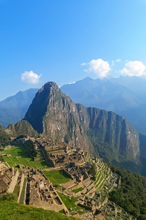 cult: Machu Picchu ruins in Peru are UNESCO World Heritage and one of the worlds most famous cult sites Stock Photo