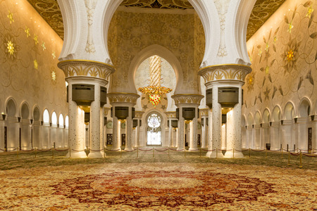 sheik: Interior picture of the sheik zayed mosque prayer hall without people