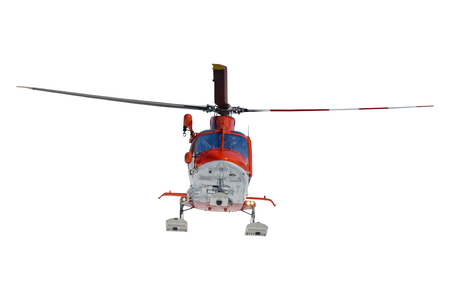 rescue helicopter: Isolated flying rescue helicopter on white background