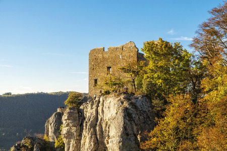 swabian: Panorama view of the swabian alps with the  castle Reussenstein , taken at late october with its beautiflul colors.