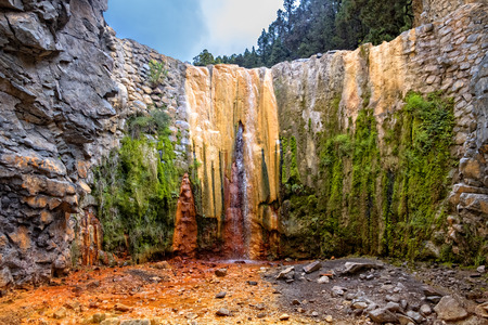 Cascada de los Colores in Caldera de Taburiente national park with its wonderful color cascades