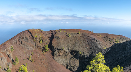 Shot of the famous hiking path Ruta de los vulcanos , taken in the south of la Palma nearby Los Canarios. View to caldera Martin