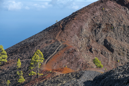 ruta: Shot of the famous hiking path Ruta de los vulcanos , taken in the south of la Palma nearby Los Canarios. Stock Photo