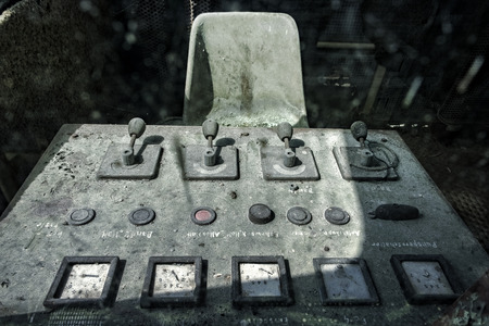 Rotten control desk of industrial machine Stock Photo