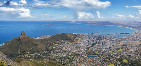 Beautiful panorama view of cape town, taken from table mountain.